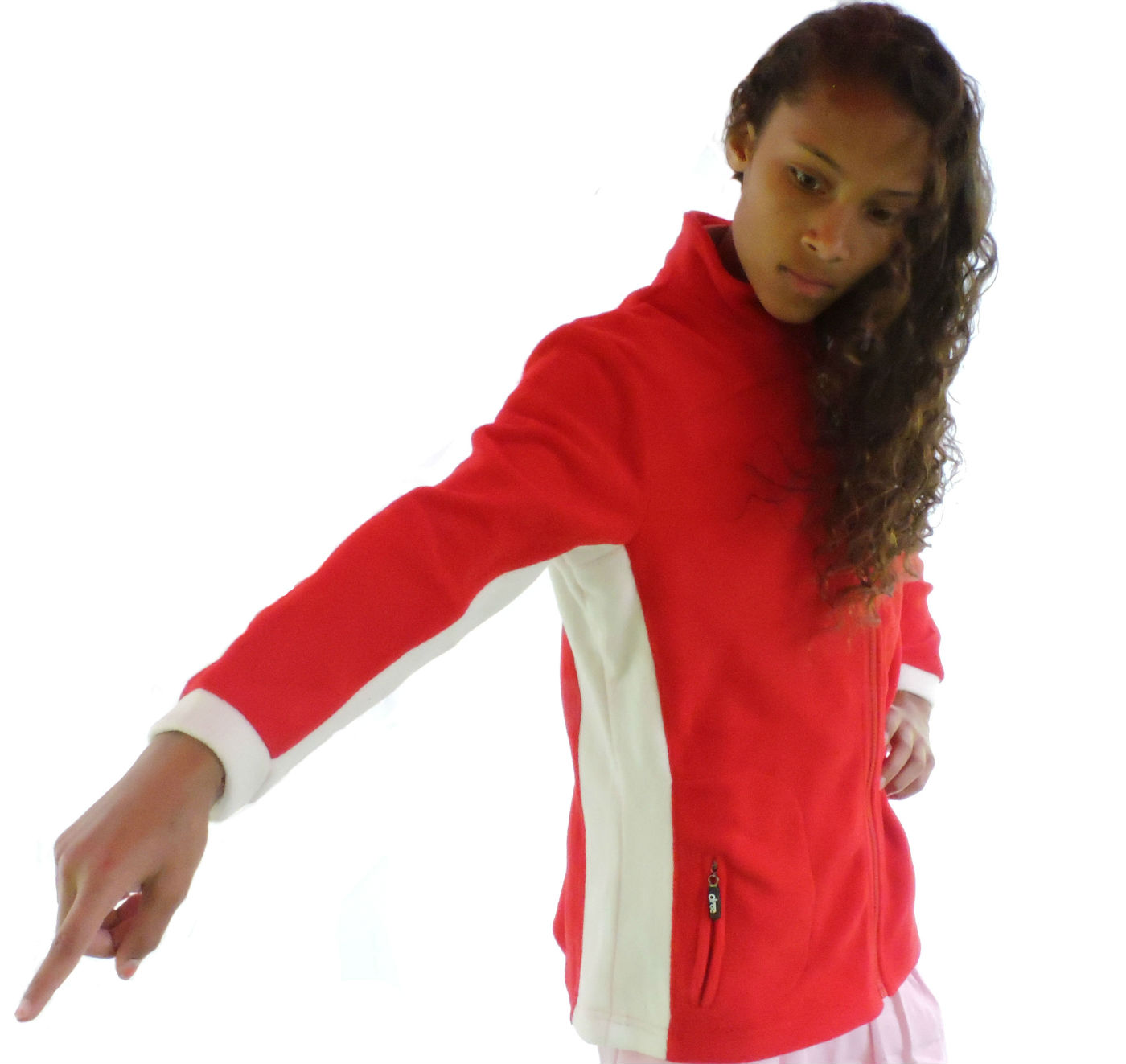 Sephlin Women's Red / White Striped Fleece Jacket